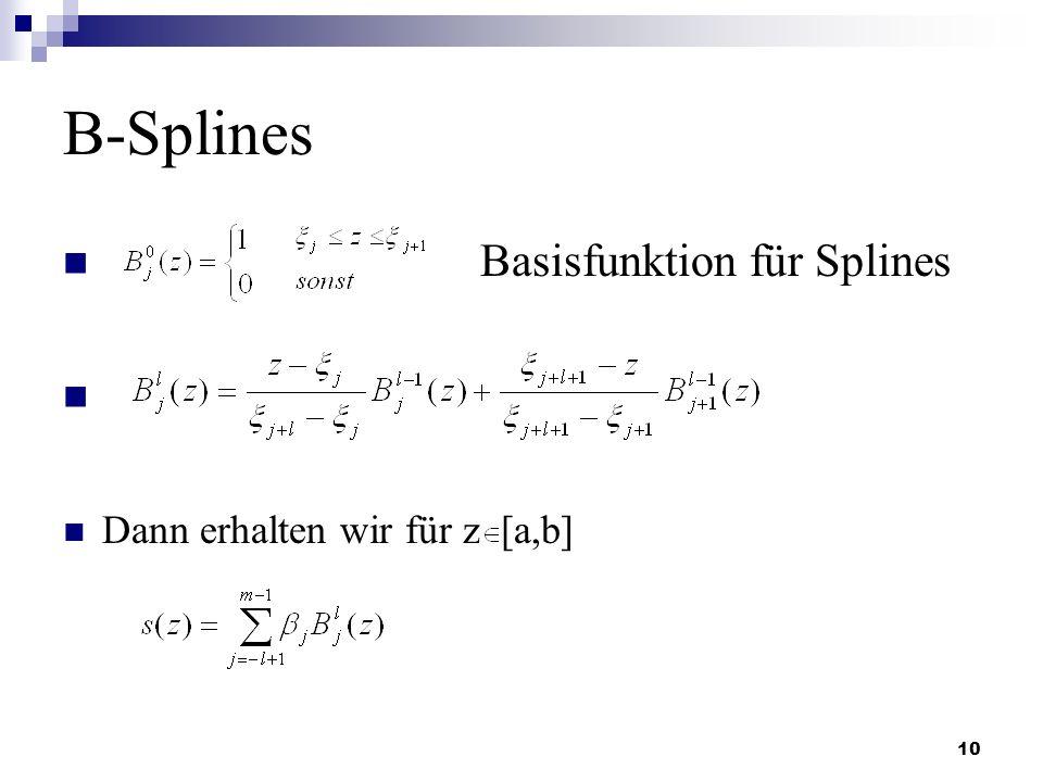 B-Splines Basisfunktion für Splines Dann erhalten wir für z [a,b]